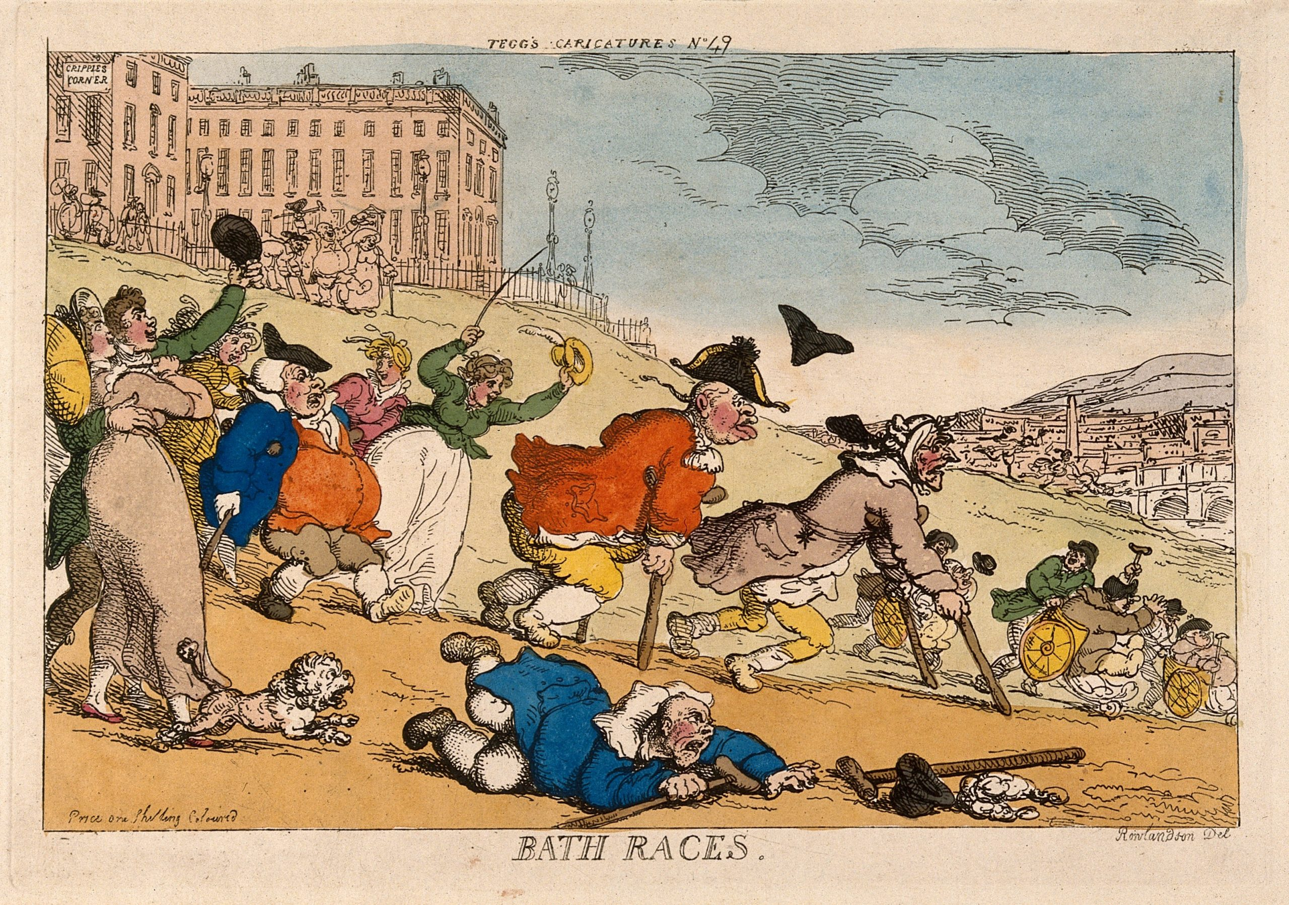 A hand-coloured print of a number of invalids rushing down the side of a hill in Bath. The invalids use crutches with three others being escorted in bath chairs. A man wearing regimentals is in the centre of the picture whilst in the foreground, another man has fallen onto his front, his crutches splayed. A couple, embracing each other, cheer the competitors on. On the top of the hill stand grand buildings, one with the sign 'Cripples Corner'. Bridge over the river with the town on the right.
