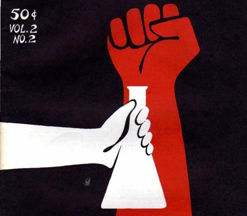 A red fist raised against black background. In the front is a white illustration of a hand holding a laboratory flask
