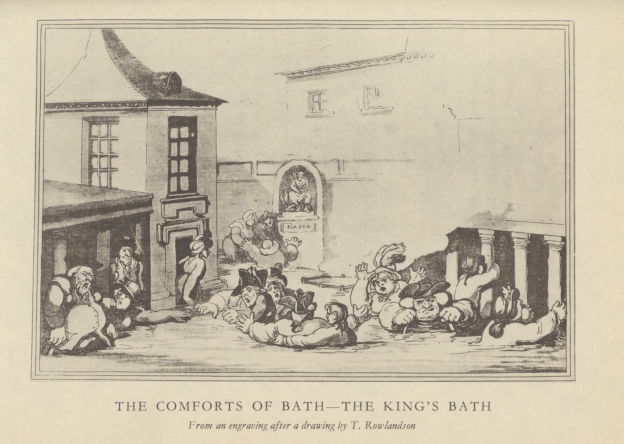 The black and white image shows an illustration of several people bathing in the hot springs of Bath.
