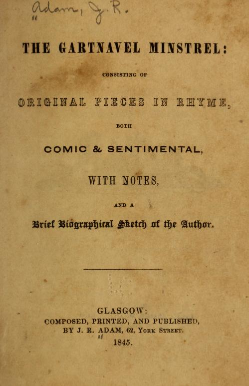The image shows the front page of the Gartnavel Ministrel, showing the publication details and date of publication.