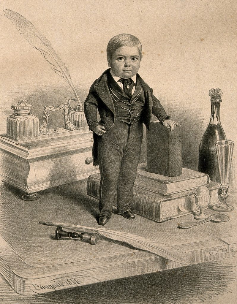 The black and white image shows an engraving of a young man with dwarfism standing on a table, with his hand propped on a book, and a quill in front of him.