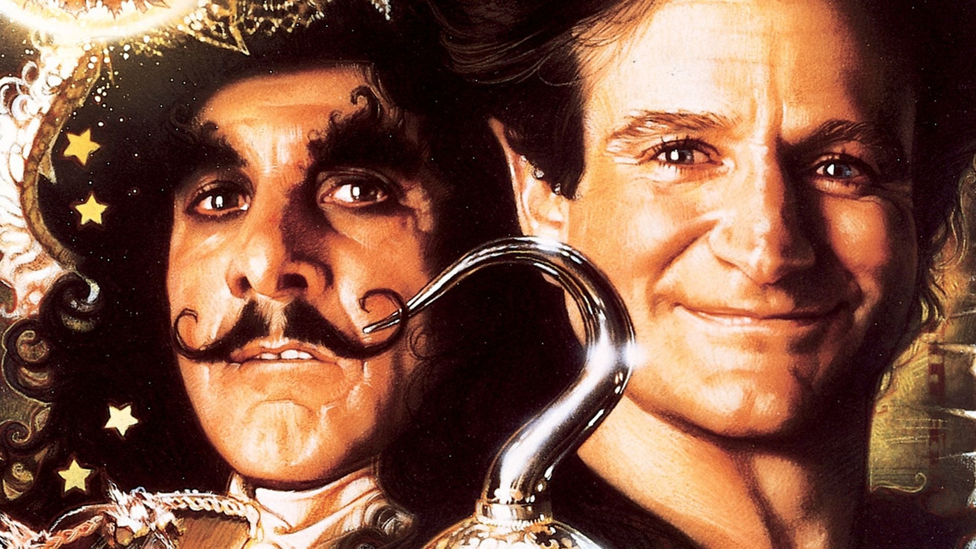 Still from the poster for the movie Hook showing Caption Hook and Peter Pan smiling. Between them is a hook